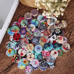 100 Pcs Round Wooden Buttons Decoration Sewing Buttons DIY Materials