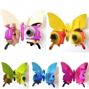 12 STK 5 färger 3D-spegel Yta Butterfly Wall Sticker Kylskåpsmagnet Heminredning Art Applique