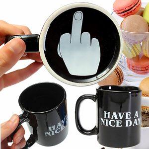 10oz nyhet keramiska mellanfinger kaffe koppar personlighet kontor gåvor har en trevlig dag rånar