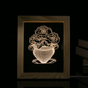 KCASA FL-721 3D Photo Frame LED Night Light Wooden Vase Decorative Christmas Gifts USB Lamp