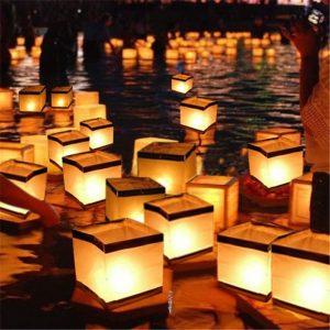 Vatten flytande ljusstake Vattentät fyrkantig ljushållare lykta som önskar ljus ljusstake