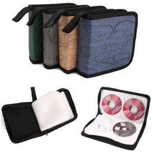 40 Disc CD Holder DVD Case Storage Wallet VCD Organizer Faux Leather Bag Random