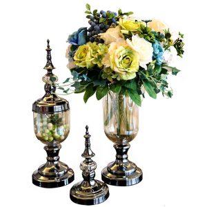 Europeisk glasblomma vas blommig hållare bröllop parti hemmakontor dekorationer
