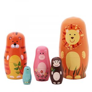 5 st / set ryska boende dockor trä handgjorda målning djur Matryoshka dockor dekorationer