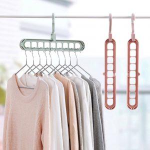 9 Holes Hanger 360 Degrees Rotatable Hook Balcony Coat Hangers Plastic Wardrobe Storage Rack for Underwear Silk Scarf Tie