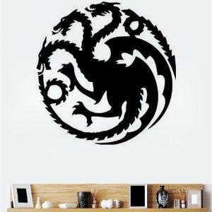 T-18 Game Of Thrones Tangeri Lian Targaryen Familjemblem Tre gulddrakar snidade väggklistermärken