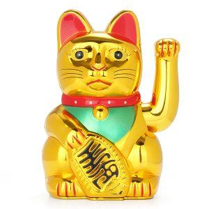 "6"" Chinese Lucky Waving Hand Maneki Neko Gold Fortune Feng Shui Cat Moving Arm Doll"