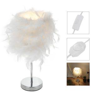 220V White Feather Table Lamp Bedside Vintage Adjustable Night Light Brightness