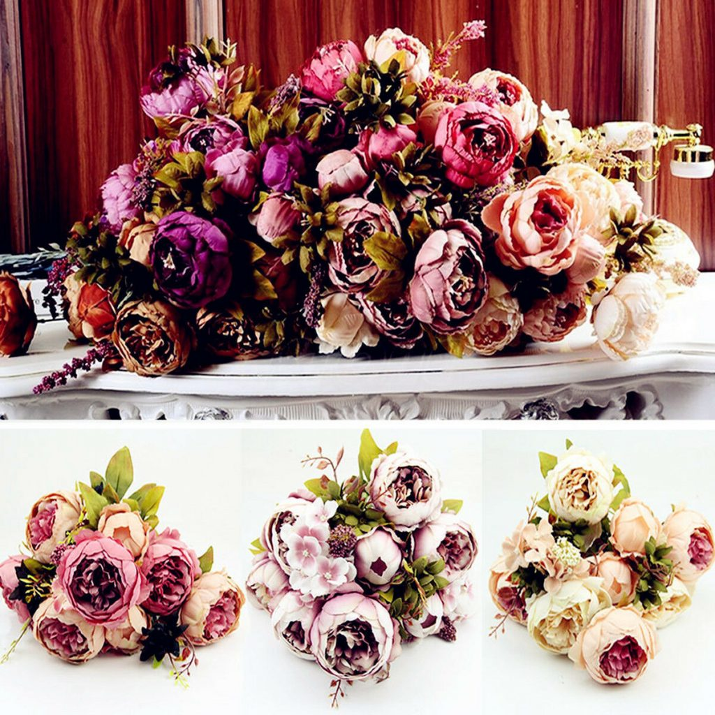 Artificial Silk Fake Flowers Leaf Peony Floral Wedding Bouquet Party Home Decors