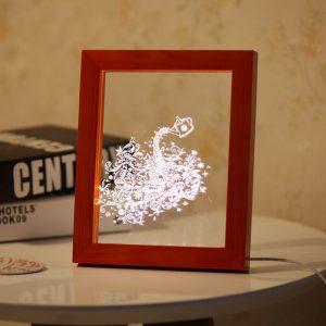 KCASA FL-708 3D Photo Frame Illuminative LED Night Light Wooden Flower Desktop Decorative USB Lamp