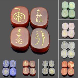 4 STK Graverade Usui Reiki Symbol Healing Energy Sanskrit Palm Crystal Stone Set Stone Decorations