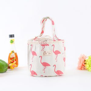 Bento Bag Thermal Insulated Lunch Box Tote Cooler Bag Bento Pouch Lunch Linen Cotton Aluminum Container
