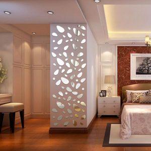 Honana DX-Y5 12 Stk söt silver DIY Pebble Shape Mirror Wall Stickers Home Wall Bedroom Office Decor