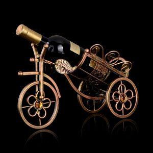 Metall trehjuling vinrack champagnehållare visar stativ vin champagne rack heminredning