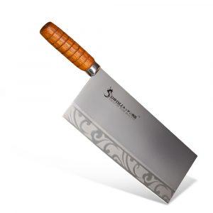 SOWOLL 022 rostfritt stål grönsaksskärare 9 tums kock K-nife kökskärare professionell matlagningsklyvare huggskärare icke-stick trähandtag