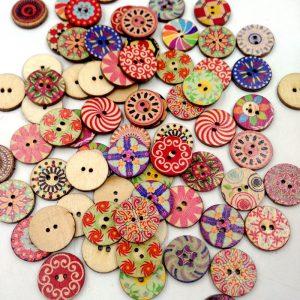 100 st retro träsömnad knappar DIY hantverk väska hatt kläder dekoration sy knapp