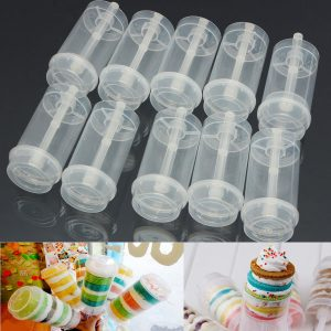 10X Plastic Push Up Cake Containers Lids Shooters For Wedding Birthday Party Cream Piping Bag