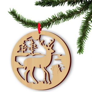 5pcs Wooden Christmas Deer Pendan Computer Laser Hollow Out Widget Ornaments Wooden Christmas Decorations