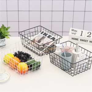 Iron Mesh Storage Baskets Organizer Box Container Bathroom Bedroom Kitchen Tray