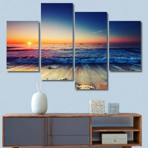 4 Panels Beach Sunset Canvas Printed Paintings Sea Seascape Modern Home Decor