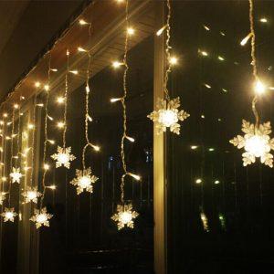 3,8 M LED gardin snöflinga stråljus LED fairy lampor 8 lägen julbelysning bröllop fest dekoration 220-240V