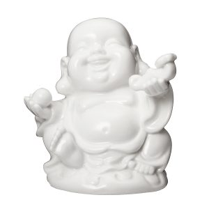 Peace Sign Laughing Hotai Statue Happy Sitting Hotai White Gloss Home Decorations
