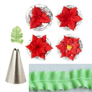 7st Leaf Cup Cake Decor Rostfritt stål Isbildning Rörmunstycken Ange bakverkstips