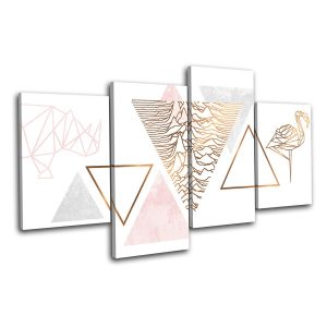 4 STK Geometriska Flamingo Rose Gold Kombination Bild Canvas Wall Art Prints Dekorationer Wall Paintings