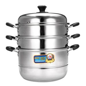 26/30/34cm 3 Tier Stainless Steel Steamer Steam Pot Cookware Glass Lids