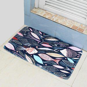 45*75cm Bathroom Shower Bath Mat Non Slip Back Carpet Mat Toilet Rug Leaves Design