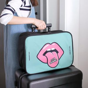 38cm Cute Cartoon Portable Travel Storage Bag Boarding Bag Luggage Clothing Trolley Case Wash Bag