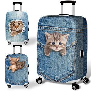Honana Denim 3D Cute Cat Dog Elastic Bagage Cover Trolley Case Cover Hållbar resväskeskydd för 18-32 Inch Case Varm resetillbehör