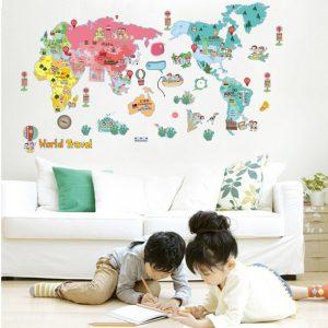 Rolig världskarta Sovrum Vardagsrum Videokartong Väggklistermärke Väggmålning Klistermärken Dekoration Vardagsrum Kontorsdekoration Väggklistermärken Heminredning