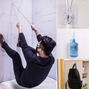 Honana HN-31 6PC Starka genomskinliga klibbiga väggkrokar Hängare för kök Badrumshållare Tillbehör