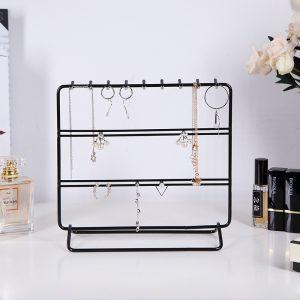 Black/Green/Pink Metal Jewelry Display Stand Desktop Shelf Earring Necklace Bracelet Stand Holder Storage Rack