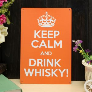 Drink Whisky Sheet Metal Drawing Metal Painting Tin Pub Wall Tavern Poster Sign