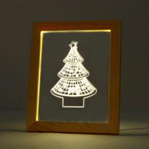 KCASA FL-709 3D Photo Frame Illuminative LED Night Light Wooden  Christmas Tree Desktop Decorative USB Lamp For Bedroom Art Decor Christmas Gifts