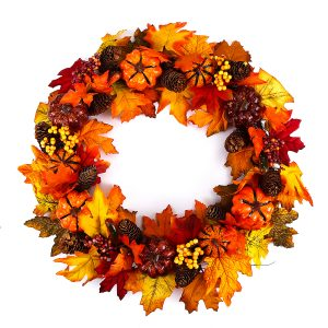 60cm Christmas Maple Leaves Pumpkin Berry Wreath Garland Door Hanging Craft Decorations