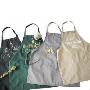 Nordiska broderade rena bomullsförkläden Inbetweening Handmålade stil Ärmlösa kök antifouling Anti Oil Men förkläden