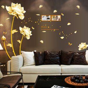 Guldblomma dekal väggdekor PVC väggklistermärke avtagbar konst väggdekor