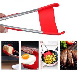 Honana BBQ 2-i-1 hopfällbar kökspatel och BBQ Tong icke-stick rostfritt stål
