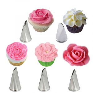 5 Pcs Set Rose Petal Icing Piping Nozzles Metal Cream Tips Cake Decorating Tools Cup Cake Pastry Tool