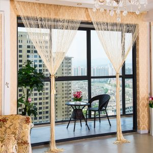 1.0x2.0m Glitter String Bead Door Curtain Panels Fly Screen & Room Divider Voile Curtains Net