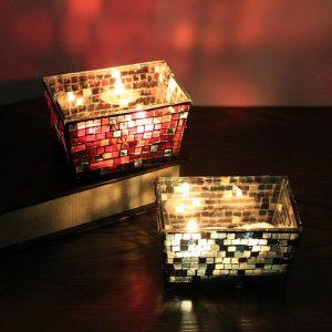 Hantverk kvadratmosaik Glas Ljusstake Ljusstake Ljusstake Blommakruka Hem Bröllop Dekor