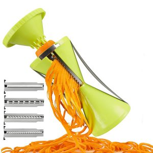 Vegetable Spiral Slicer Peeler Redesigned Handle With 4 Blade Veggie Julienne Slicer Cutter