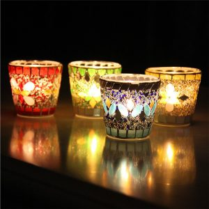 Hantverk Mosaik Glaspärlor Sequin Candle Stick Ljusstake Candelabra Home Decor Gift