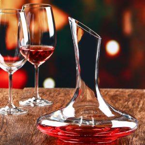 1500 ml Elegant blyfria kristallglas vinkaraffel Rödvin Carafe Aerator Wine Pourer