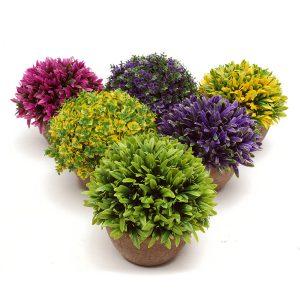 Färgglada konstgjorda Topiary Tree Ball Plants Pot Garden Garden Home Inomhus Decor Flower