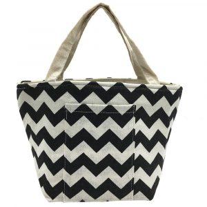 KCASA KC-BCH04 Cotton Linen Zipper Insulated Cooler Lunch Tote Bag Lady Handbag Food Organizer