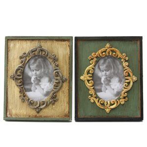 2pcs Retro Vintage Antique Style Yellow Green Wood Photo Frame